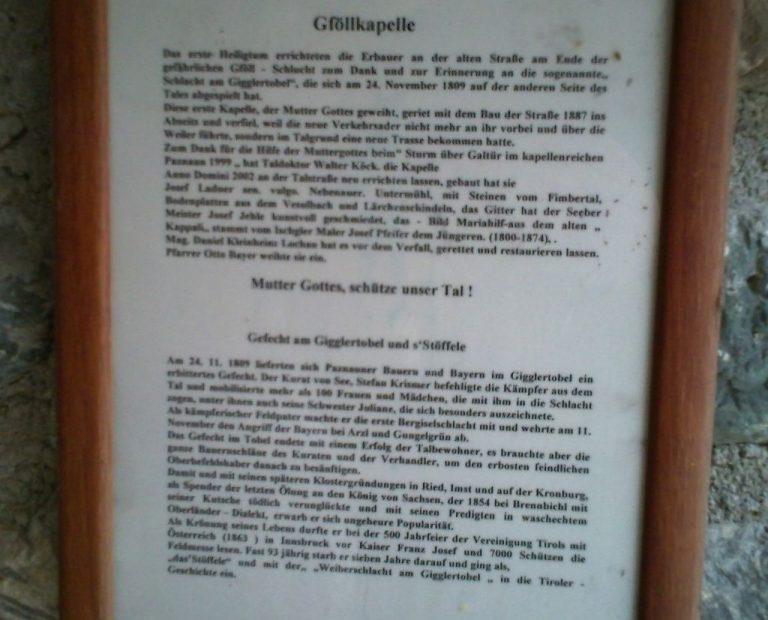 Tafel mit der Begründung der Intention für diese Kapelle.